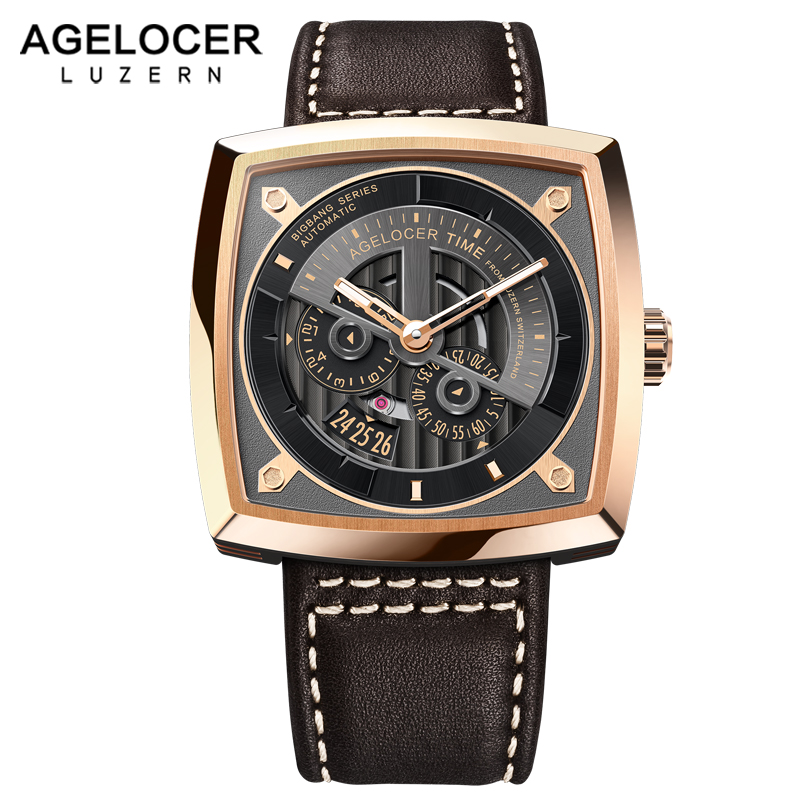 цена AGELOCER Swiss Brand Military Watches for Men Rose Gold Black Dial Brown Leather Strap Automatic Watches with Power Reserve