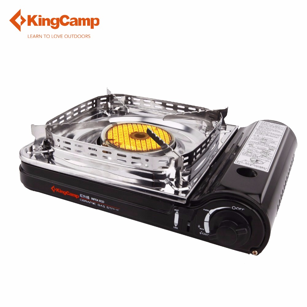 KingCamp Gas Stove Super Windproof Outdoor Camping Equipment Stainless Steel Ceramic with Carrying Case Butane