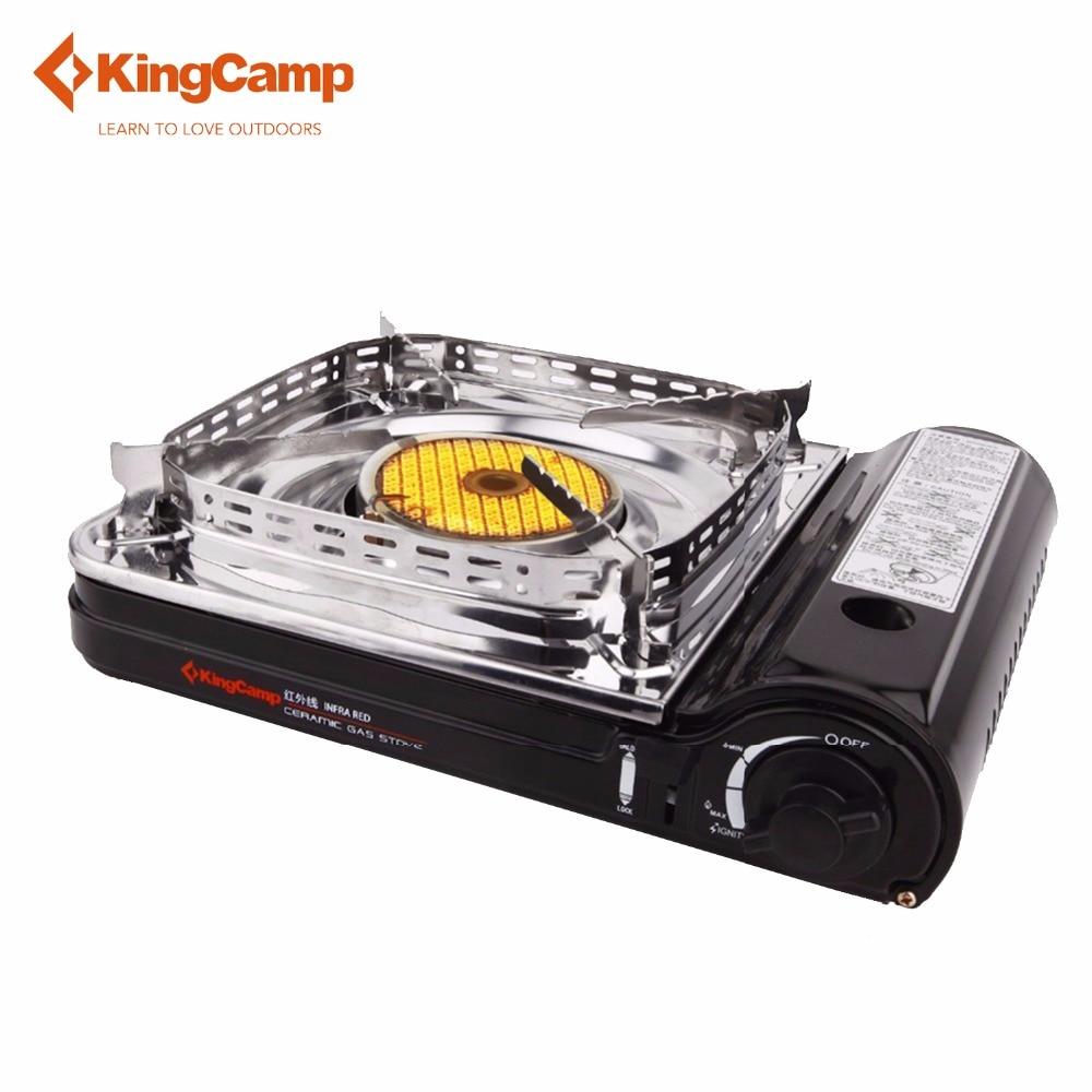 KingCamp cuisinière à gaz Super coupe-vent équipement de Camping en plein air en acier inoxydable en céramique avec étui de transport Butane