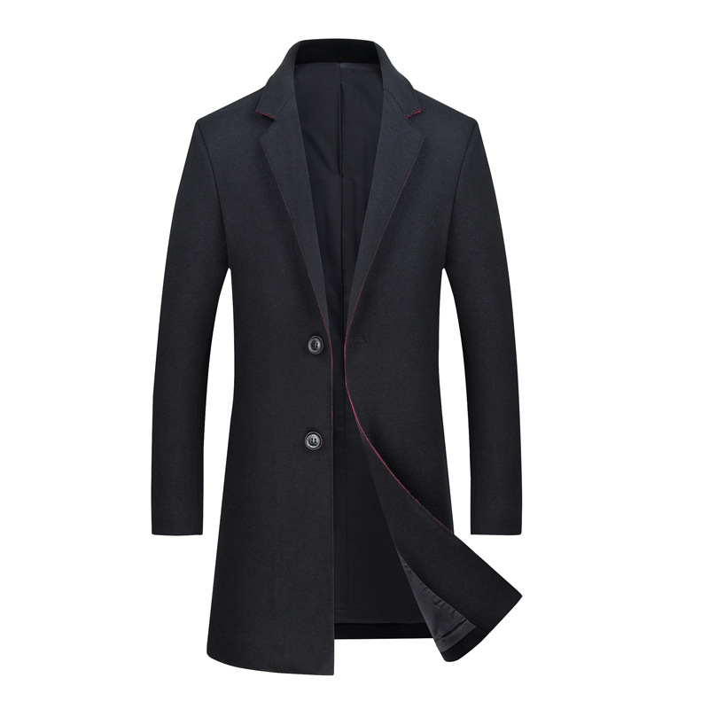 Winter   Trench   Jacket and Coat Long Windbreaker Men Business Casual Wool Mens Outwear Black Overcoat 2019 New Male Clothing R1695