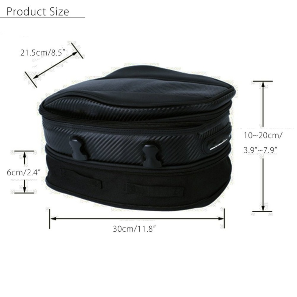 7.5L-10L Large Capacity Motorcycle Rear Seat Bag with Buckle Strap Waterproof Oxford Cloth Bike Rear Bag