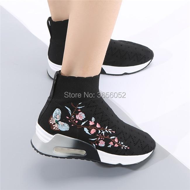 Floral Sneakers Les Femmes Wedge Slip Tricoté Plate Talon Mujer Casual Qianruiti Plat Épais Noir Chaussette Bottes Botas Extensible Sur forme Black Chaussures kwOPuZiTX