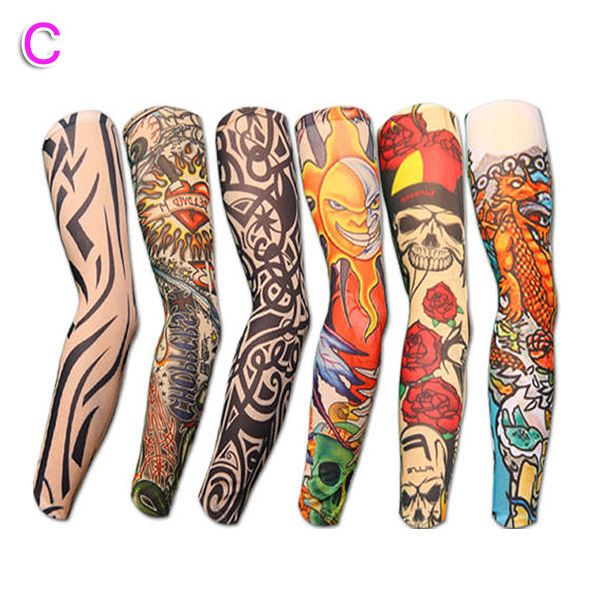 Men's Arm Warmers Apparel Accessories 6/10/20pcs Nylon Elastic Fake Temporary Tattoo Sleeve Body Arm Tatoo Supplies Aic88