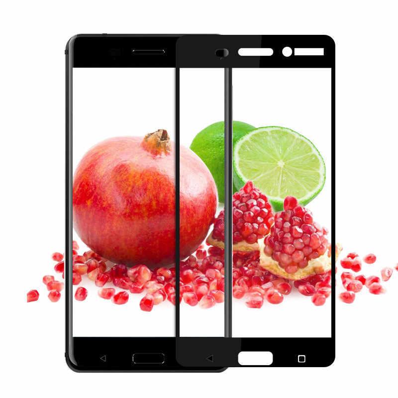 DS-LOVEHUI 9H cubierta completa de vidrio templado para Nokia 8 6 5 3 Protector de pantalla de vidrio templado a prueba de explosiones película