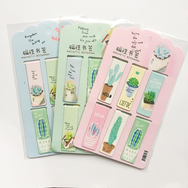 R14 6 unidades/juego de marcadores magnéticos de Cactus, plantas verdes frescas, marcador de página, papelería, suministros para escuela y oficina, Clip de papel