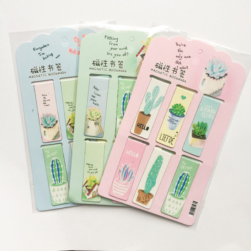 R14 6pcs /Set Fresh Green Plants Cactus Magnetic Bookmarks Books Marker Of Page Stationery School Office Supply Paper Clip