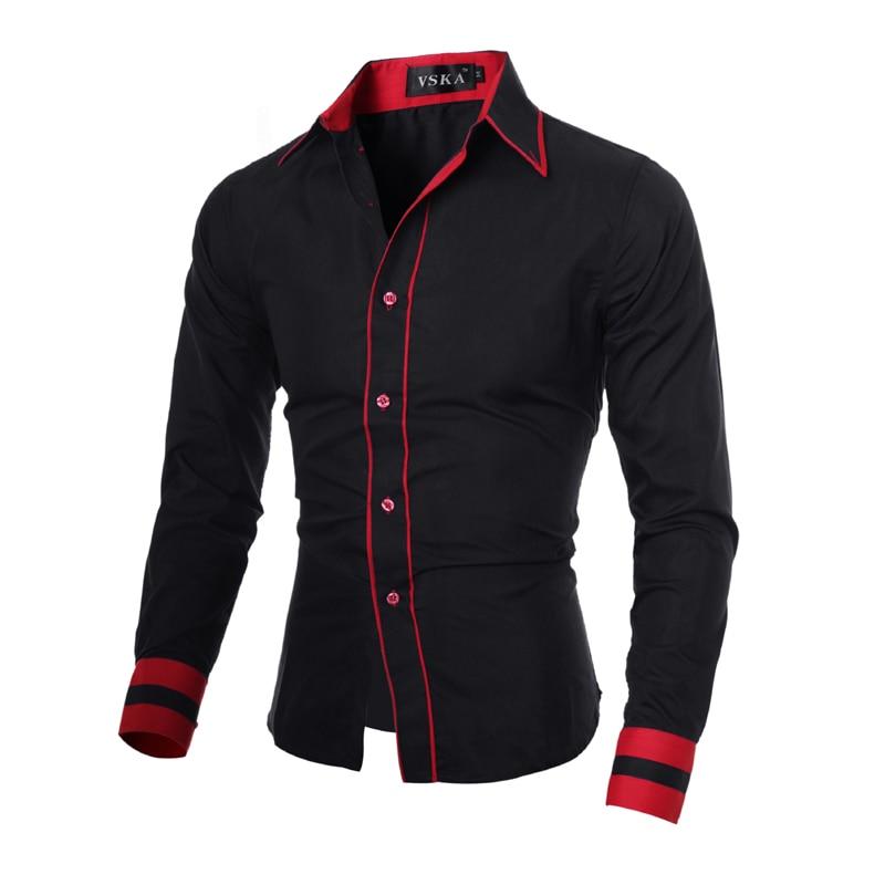 Camisa de hombre 2018 Marca de moda Puño a rayas Camisa de manga - Ropa de hombre