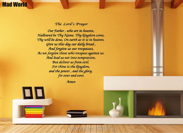 Mad World THE LORDS PRAYER Quote Wall Art Stickers Wall Decal Home ...