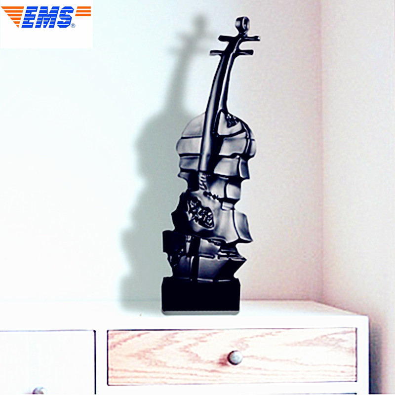 Violin Statue Music Model Bust Black and White Minimalist Style Home Decorations Collectible Colophony Crafts 39CM L2696 retro music ludwig van beethoven bust franz joseph haydn statue colophony crafts sketch teaching collectible decorations l2352