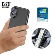 Apexel kit de capa de celular de couro, conjunto de lentes com zoom amplo, lente telephoto, ângulo aberto, capa de celular, para iphone x, xs, xs max
