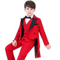 Baby Suit Formal Tuxedo Set Costume For Boy Children Wedding Host Piano Performance Party Costume Kids Clothes 5PCS Sets Y1059