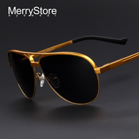 2014 New Men Brand Aluminum Alloy Polarized Aviator Sunglasses Ultralight Gold Frame Polar Glasses Fashion Polarized
