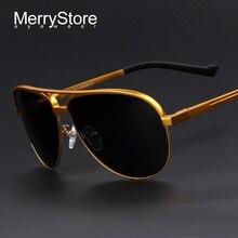 MERRYSTORE Men Brand Aluminum Alloy Polarized Shield Sunglasses Ultralight Gold Frame Polar Glasses Polarized Sunglasses