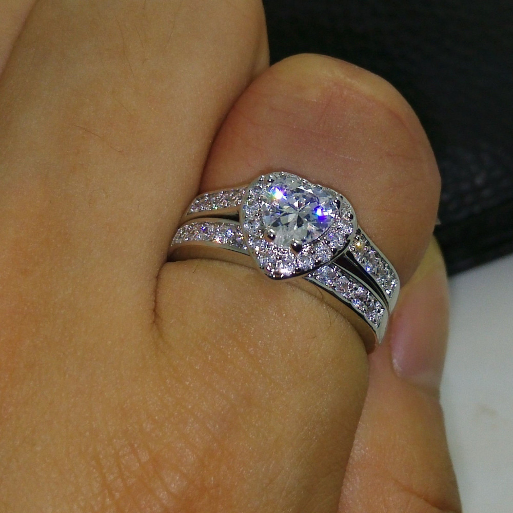 choucong Heart Lovers Jewelry 5A Zircon stone Gem 10KT White Gold Filled 2 Wedding Ring Set Sz 5-11 Free shipping Gift