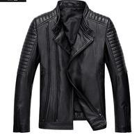 2017 New Men High Quality Sheep Skin Jacket Genuine Leather Moto Biker Coat Men S Winter