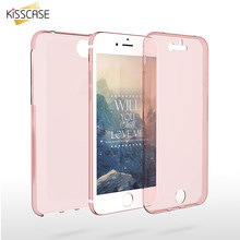 KISSCASE 360 funda transparente completa para iPhone 8 7 6s 6 plus funda de alta pantalla táctil de cristal suave TPU para iPhone X 5 5S SE(China)