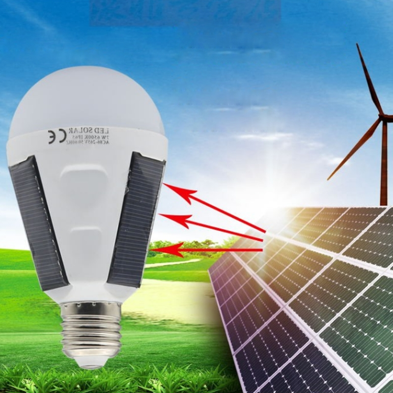LED Solar Light Bulb 7W E27 Tent Camping Fishing Solar Rechargeable Powered