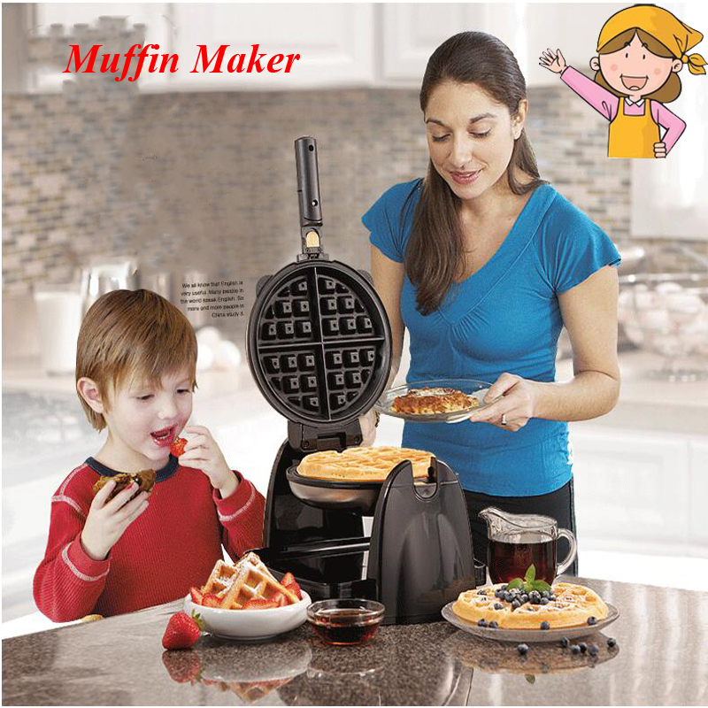 Household Waffle Making Machine Multi-function Automatic Double Heating Rotating Muffin Baker Electrical Baking Pan 26030-CN waffle maker home multi function automatic heating waffle machine can be rotated baker muffin electric baking pan 1pc