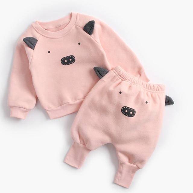 Winter Baby's Cartoon Animal Printed Sweatshirt with Pants Set 4
