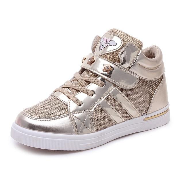 Kids 2018 Kinderen Meisje Merk Glitter High Top Sneaker Meisje Leuke Kitty Fashion Trainer Peuter Pu Leer Pailletten Schoen