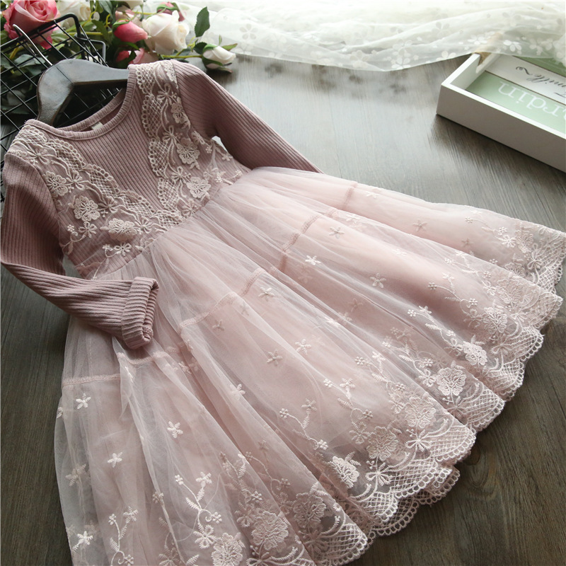 LILIGIRL Girl Princess Dress Girl Clothes Kids Lace Spring Autumn Long Sleeves Dresses For Party And Wedding Party Clothes fashion jacquard spring and autumn long sleeved lace print dress princess party baby girl dresses girl clothes 3 7 yrs