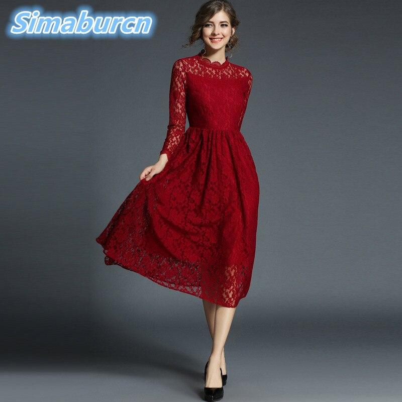 Haute qualité femmes rouge dentelle évider automne longue robe vêtements Femme décontracté Femme Sexy Slim fête Vintage a-ligne robes