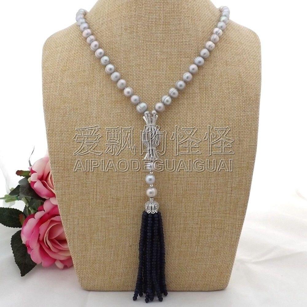 N093008 22 collier de perles grises CZ pendentifN093008 22 collier de perles grises CZ pendentif