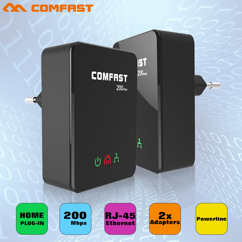 2PCS/Pair COMFAST 200Mbps Powerline Ethernet PLC Adapter High-speed Mini PLC Homeplug for IPTV Network Power line Adapter Kit