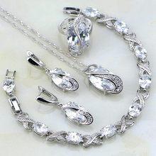 121e3f2b900c Blanco clásico Mystic Rhinestone plata esterlina joyería conjuntos para  mujeres boda pulseras Collar colgante pendientes anillo