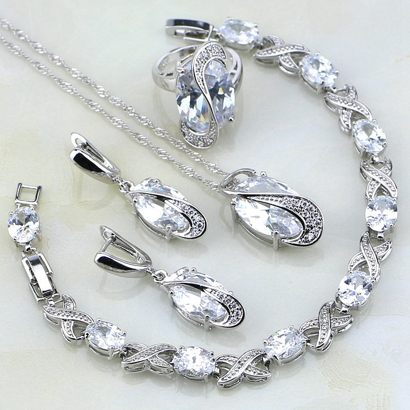 Classic White Mystic Rhinestone Sterling Silver Jewelry Sets For Women Wedding Bracelets/Necklace/Pendant/Earrings/Ring chic rhinestone african plate shape pendant necklace and earrings for women