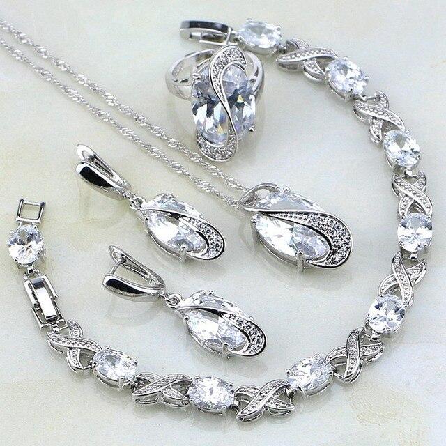 Classic White Mystic Rhinestone Sterling Silver Jewelry Sets For Women Wedding B