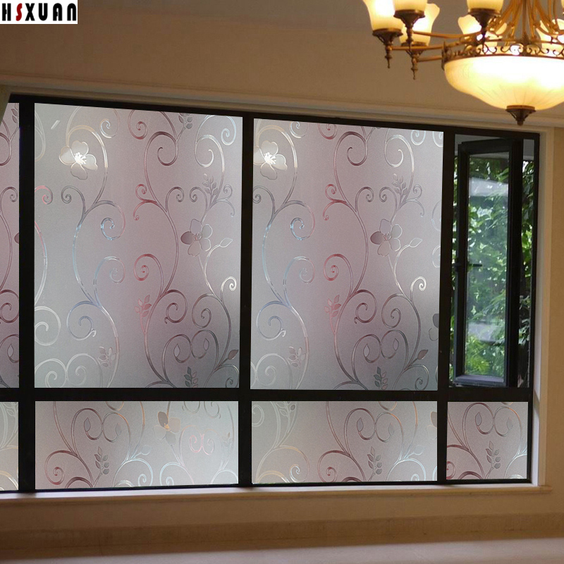 70x100cm cam flower decorative window film living room frosted window stickers no glue film hsxuan - Decorative Window Film