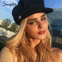 Simplee Fashion Black Hat Cap Women Casual Streetwear Woollen Flat Cap Elegant Solid Autumn Winter Warm