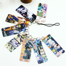 Naruto Photo Pvc Card String Keychain 8 pcs Cards/string Women Bag Accessories