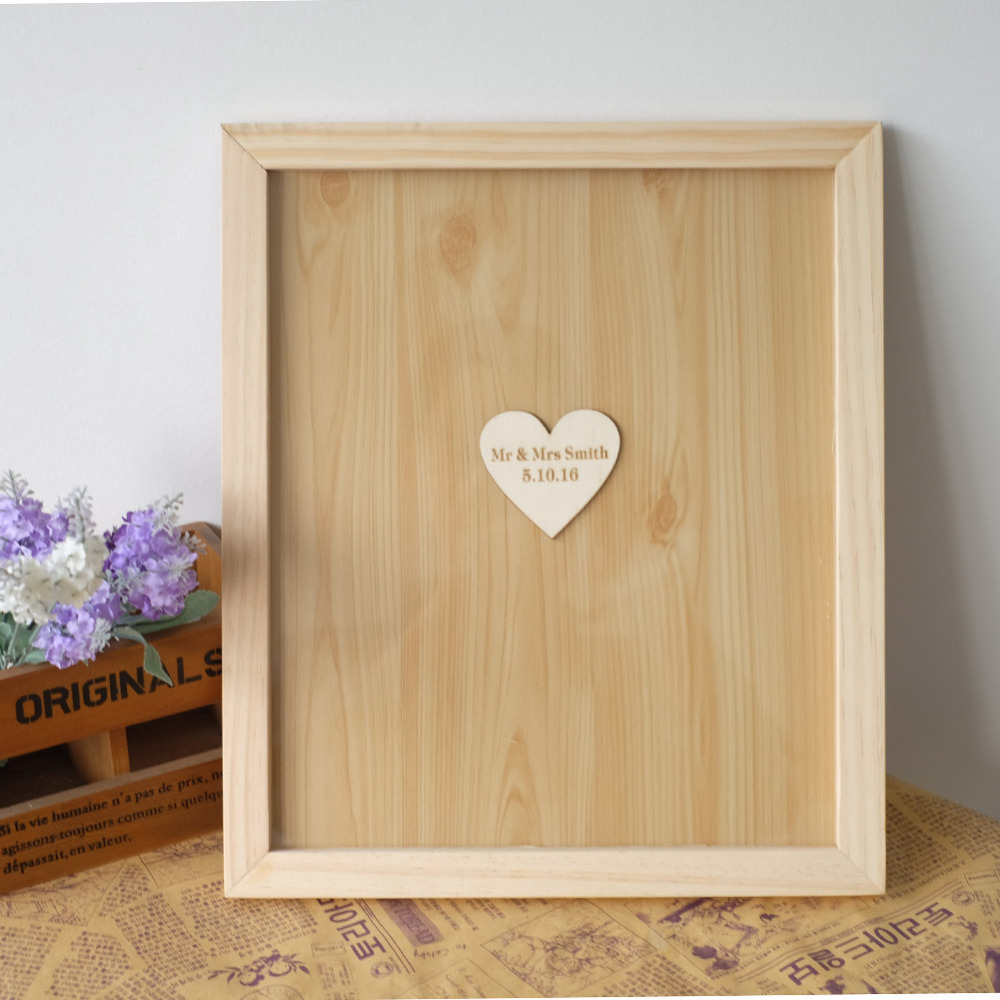 Wooden Wedding Guest Book Personalized Books Alternative Drop Box Hearts Sign Frame Rustic Engagement Guestbook In Signature From