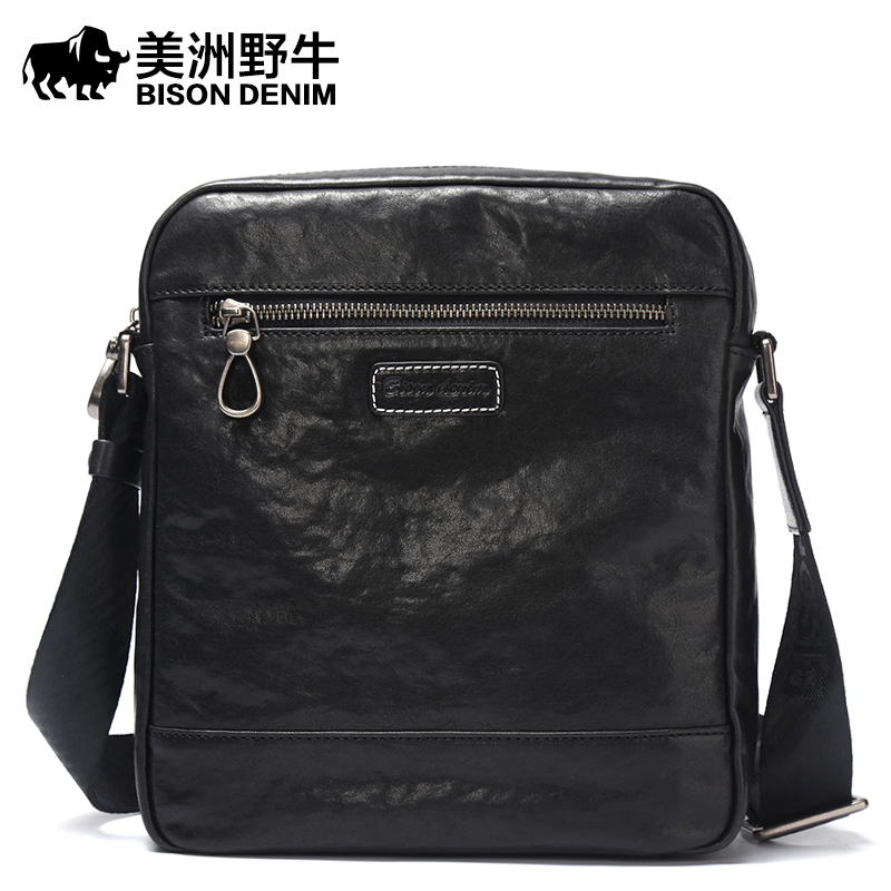 Brand BISON DENIM Genuine Leather Handbag Men Bag Casual Satchel Messenger Bag Business Travel Crossbody Bag Men's Shoulder Bags allishop 10m rf coaxial cable sma to mmcx connector sma female to mmcx male right angle rg178 pigtail cable