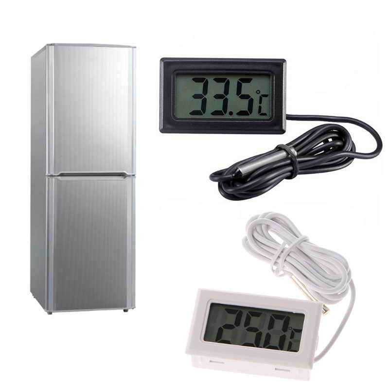 MEXI Digital Temperature Meter Thermometer Fahrenheit Celsius Display High Accuracy Refrigerator Parts (Black)