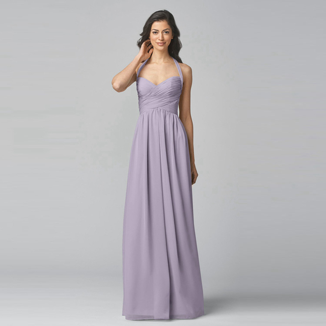 Lavender Halter Bridesmaid Dress For Party Long Hollow Out Back Plus