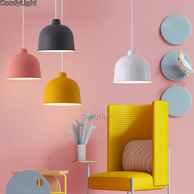 Lampe de pendentif LED colorée nordique danemark foyer maison lampe suspendue moderne abat-jour en métal chambre/îlot de cuisine suspension