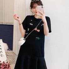 Poungdudu платье для беременных женщин большого размера милое вышитое платье для беременных под женское платье рубаху Лето Новое Материнство