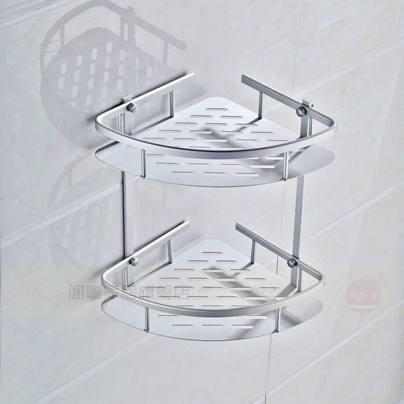Wall Mounted Aluminum Triangle Shower Corner Basket Bathroom Dual Tier  Cosmetic Storage Holder In Bathroom Shelves From Home Improvement On  Aliexpress.com ...