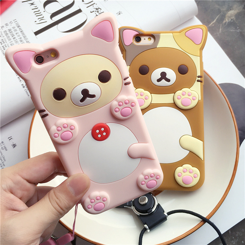 Cute 3D Cartoon Rilakkuma Bear Silicon Case for iPhone 6 6s Plus Rubber Silicone Cover Shell Phone Cases for iPhone 7 7 Plus