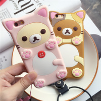 Cute 3D Cartoon Rilakkuma Bear Silicon Case For Iphone 6 6s Rubber Silicone Cover Shell Phone