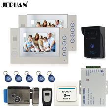 "JERUAN 7"" video door phone intercom system home security system access control system video recording With Tamper alarm panle"