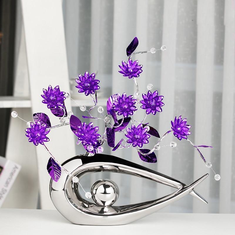 6Color Fashion Crystal flower Crafts Modern Home decoration bird figure statues ceramic bottle Figurines Miniatures wedding
