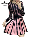 Leiouna 2017 New Autumn New Slim Stretch Women Striped Dresses Maxi Party Women Long Sleeve Knee Pink Knit Sweater Slip Dress