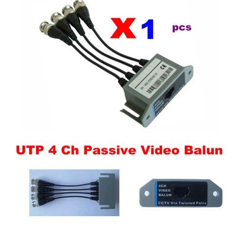 1 x UTP 4 Ch Passive Video Balun Transceive BNC video balun to UTP 8pairs bnc to tj45 power video balun