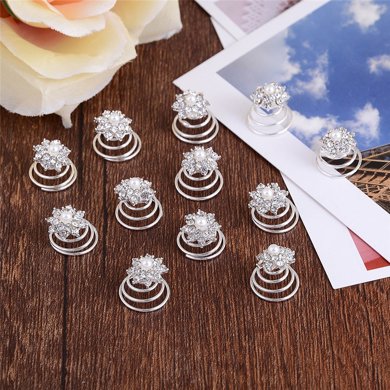 12pcs/lot Wholesale Shine Big Crystal Flower Crystal Hair Comb Pins Clips Lovely Girls Female Daily Headwear Decorations Jewelry