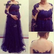 Plus Size Lace Purple Tulle Appliqued Long Sleeve Evening Gown For Pregnant Women Mother Of The Bride Dresses Robe De Soiree