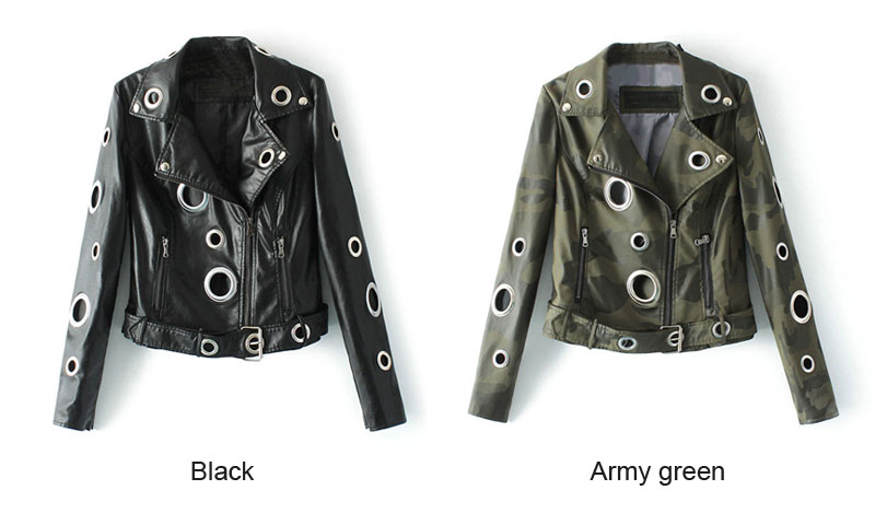 2019 Camouflage Army Green Leather Jacket Women Metal Circle Moto